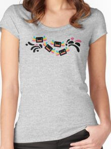 Cute Black and Rainbow Axolotls and Whirls Women's Fitted Scoop T-Shirt