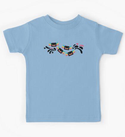 Cute Black and Rainbow Axolotls and Whirls Kids Tee