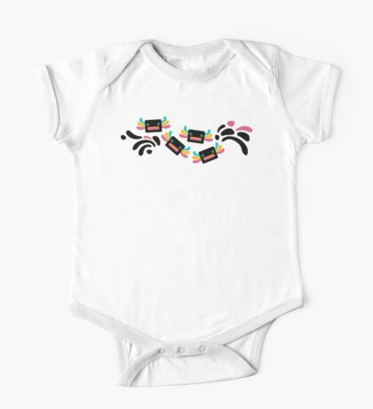 Cute Black and Rainbow Axolotls and Whirls One Piece - Short Sleeve