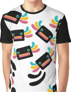 Cute Black and Rainbow Axolotls and Whirls Graphic T-Shirt