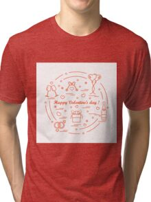Cute vector illustration: gifts, balloons, stemware, keys, gender symbols, bottle with hearts and snowflakes arranged in a circle. Tri-blend T-Shirt