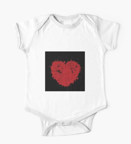 Hand Painted Rustic Heart One Piece - Short Sleeve