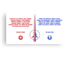 The Jedi and Sith Code Canvas Print