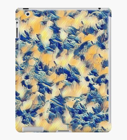 Funky Abstract in Blue and Gold iPad Case/Skin