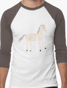 Unicorn Pattern on Pastel Purple Men's Baseball ¾ T-Shirt