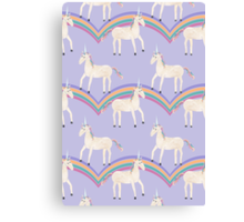 Unicorn Pattern on Pastel Purple Canvas Print