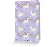 Unicorn Pattern on Pastel Purple Greeting Card