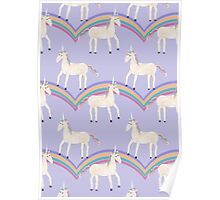 Unicorn Pattern on Pastel Purple Poster
