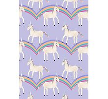 Unicorn Pattern on Pastel Purple Photographic Print