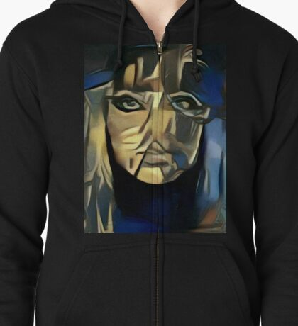 Shades of blue Zipped Hoodie