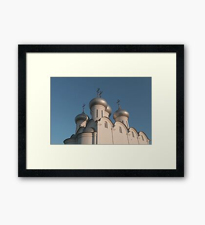 white church with silver domes Framed Print