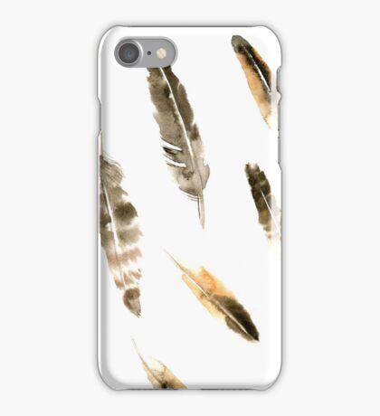Watercolor grey feather pattern  iPhone Case/Skin