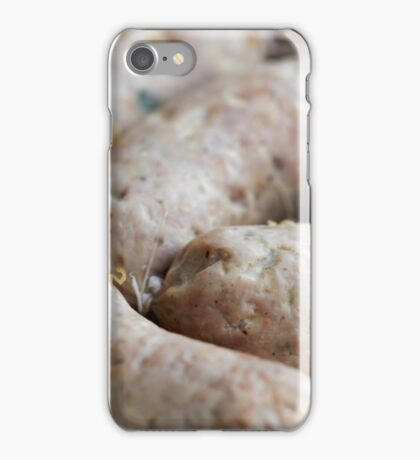 appetizing sausages close to iPhone Case/Skin