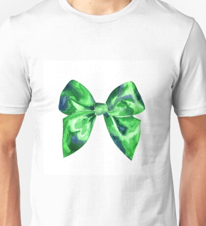Watercolor green bright bow  Unisex T-Shirt