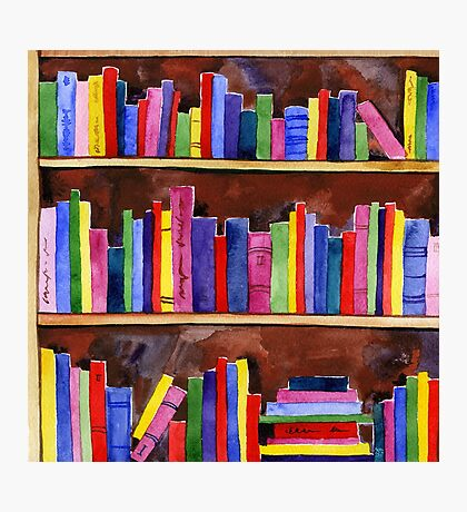 watercolor colored books pattern Photographic Print