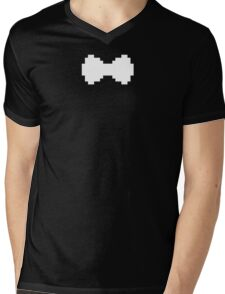 Pixel White Bow Mens V-Neck T-Shirt