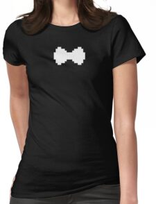 Pixel White Bow Womens Fitted T-Shirt