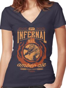 Infernal Nail Amber Ale | FFXIV Women's Fitted V-Neck T-Shirt