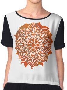 Watercolor Orange Mandala Pattern Chiffon Top