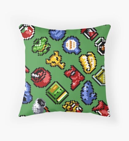 Legend of Zelda A Link to the Past / items 2 / pattern / green Throw Pillow