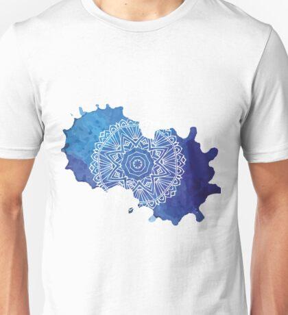 Watercolour Blue Mandala Pattern Unisex T-Shirt