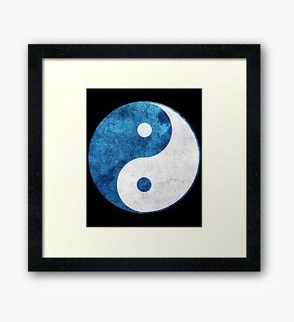 Blue Yin Yang Symbol Framed Print