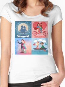 Valentine's Day Cards Set with Young Happy Couple Women's Fitted Scoop T-Shirt