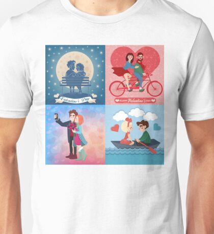 Valentine's Day Cards Set with Young Happy Couple Unisex T-Shirt