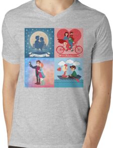 Valentine's Day Cards Set with Young Happy Couple Mens V-Neck T-Shirt