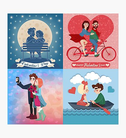 Valentine's Day Cards Set with Young Happy Couple Photographic Print