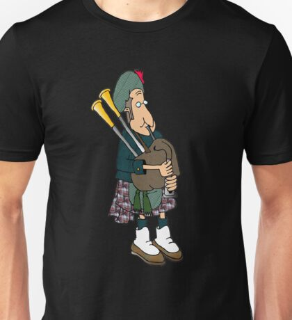 playing bagpipes - Burns night-Recovered Unisex T-Shirt