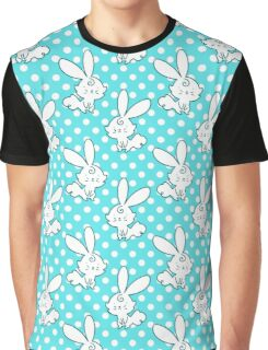 Blue Polk-a-dot Bunny Pattern Graphic T-Shirt
