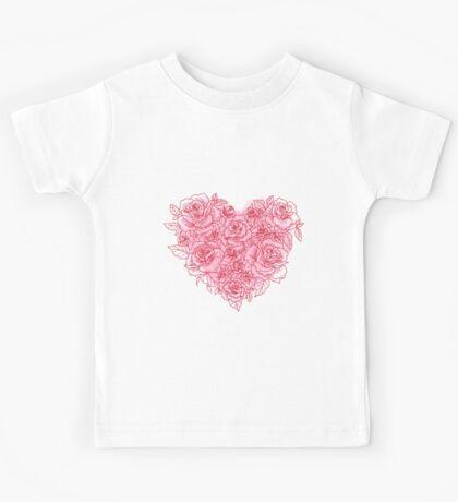 Heart Made Of Roses Love Kids Tee