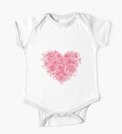 Heart Made Of Roses Love One Piece - Short Sleeve