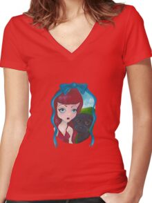 Big Eye Dolly Girl and Dog Painting Women's Fitted V-Neck T-Shirt
