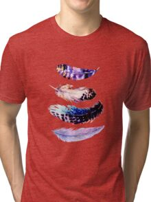 Watercolor feathers painting Tri-blend T-Shirt