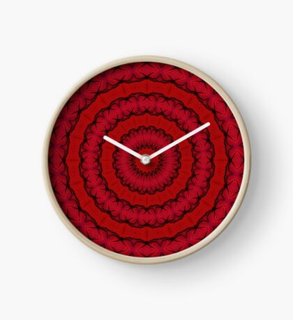 Psychedelic Red & Black Mandala Clock