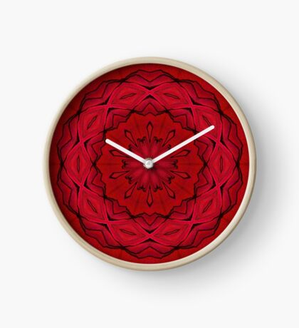 Psychedelic Black & Red Mandala Clock