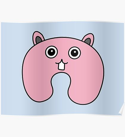 Cute Pink Fluffy Bunny Poster
