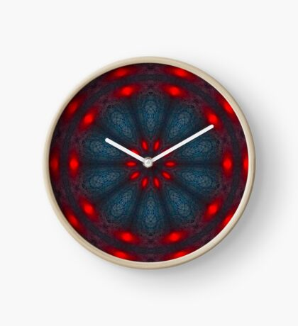 Psychedelic Red, Black & Blue Mandala Clock