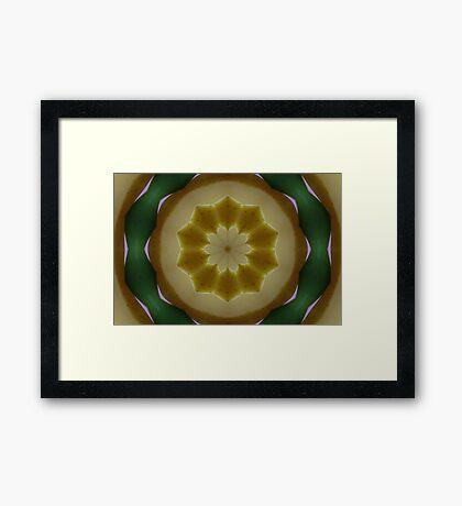 Psychedelic Yellow & Green Mandala Framed Print