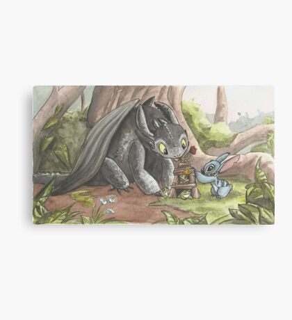 Toothless and Stitch Build a Froghouse Canvas Print