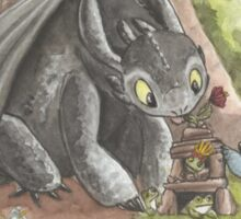 Toothless and Stitch Build a Froghouse Sticker
