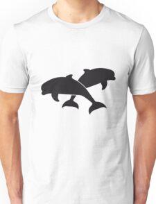 paar pärchen 2 delfine silhuette umriss delfin springen süß niedlich  Unisex T-Shirt