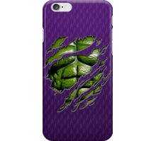 Green muscle chest in purple ripped torn tee iPhone Case/Skin