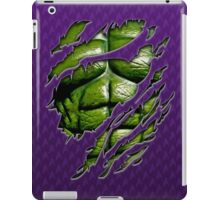Green muscle chest in purple ripped torn tee iPad Case/Skin