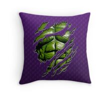 Green muscle chest in purple ripped torn tee Throw Pillow