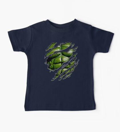 Green muscle chest in purple ripped torn tee Baby Tee