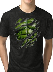 Green muscle chest in purple ripped torn tee Tri-blend T-Shirt