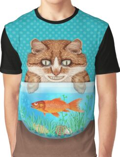 Cat with Goldfish Bowl Funny Hungry Grinning Kitty Graphic T-Shirt